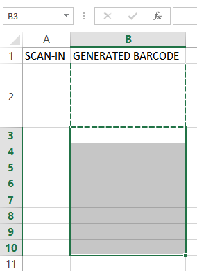 How to setup an Excel sheet for scanning and instant barcode