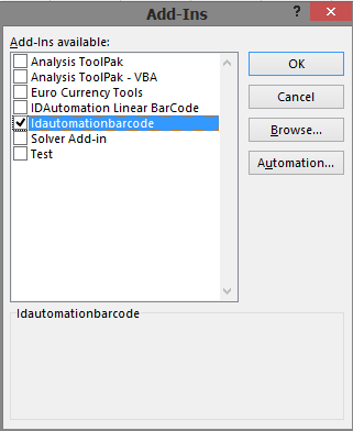 How to Create an Add-In in Excel for the IDAutomationVBA